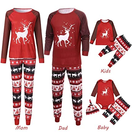 26928a3734 Christmas Family Pajamas Sets,HKDGID Winter Matching Family Sleepwea  Nightwear Sleeptime Funny Children Clothes Top