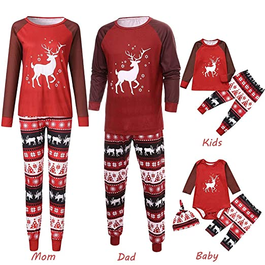 Inverlee 2PCS Christmas Children Cartoon Deer Print Top+Pants Family  Clothes Pajamas 0fbece9b0