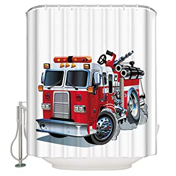 Xspring Cartoon Fire Truck Shower Curtain Home Decoration Mildew Resistant Waterproof Polyester Fabric Machine Washable