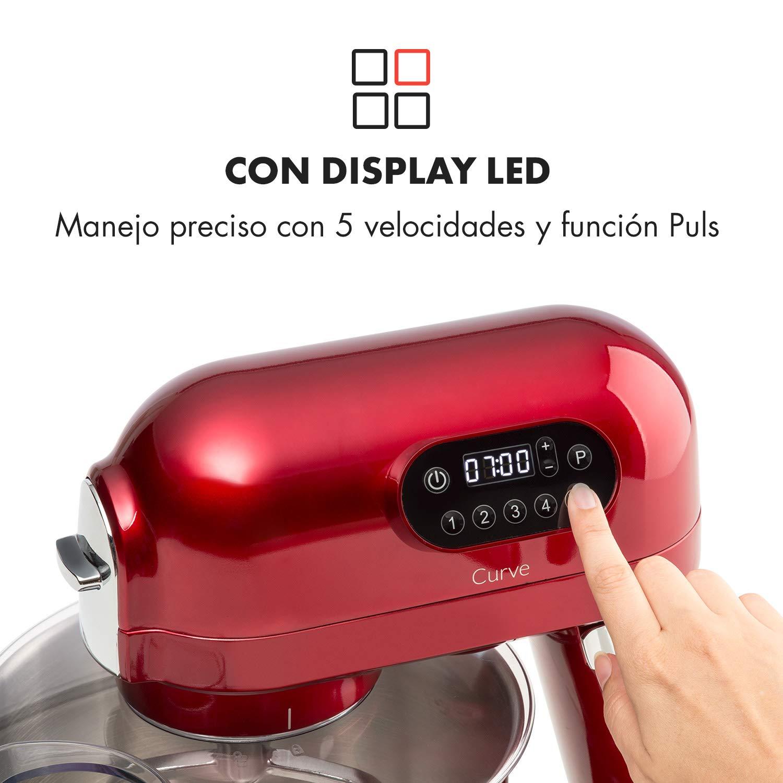 Klarstein Curve Robot de cocina • Mezclador • Pantalla LED • 5 velocidades • Sistema de rotación planetaria • 5 litros • Carcasa metálica • Accesorios ...