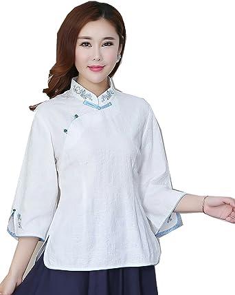 fb49d94e232 Shanghai Story 3 4 Sleeve Women s Chinese Top Linen Blouse Qipao Shirt M  WhtB