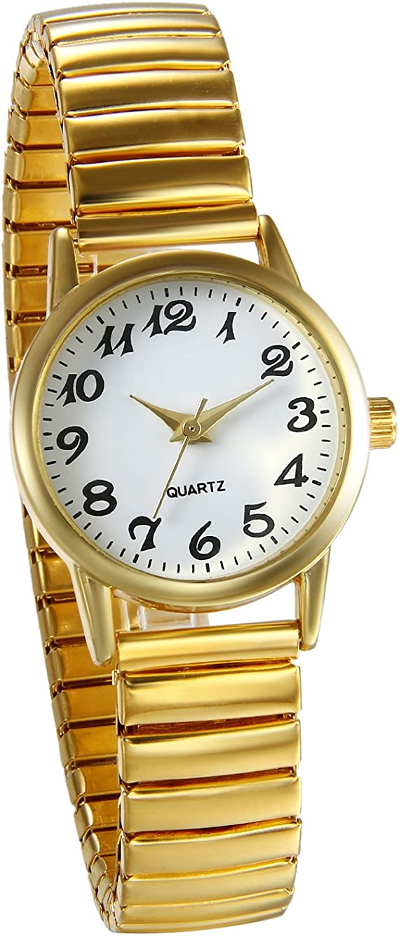 JewelryWe Women's Ultra Thin Easy Reader Watch with Elastic Strap