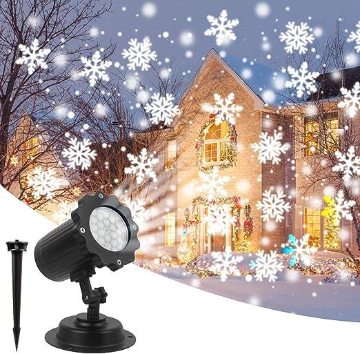 Proyector de Navidad Decoracion Luces Luz en Blanco Copo de Nieve ...