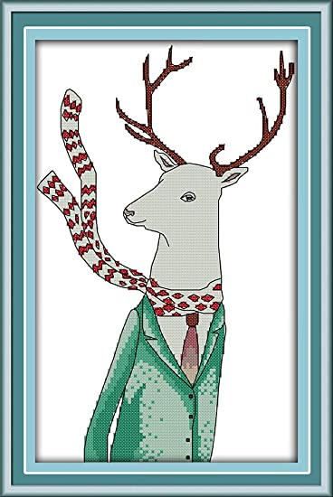 Antlers Christmas Gift Awesocrafts Easy Patterns Cross Stitching Embroidery Kit Supplies Christmas Gifts Cross Stitch Kits Antlers, Counted Stamped or Counted