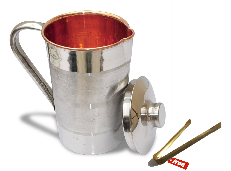 Prisha India Craft Maintenance Free Design Steel Copper Jug Pitcher  1600 ML  For Storage & Serving Water Good Health Benefits Indian Yoga, Ayurveda