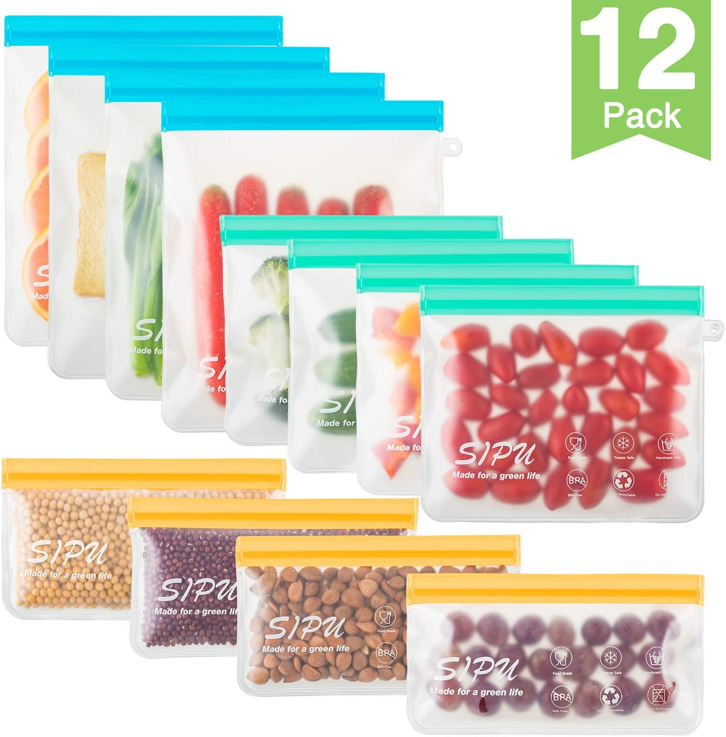 [12 Pack] DUAL Leakproof Reusable Storage Bags - (4 Gallon, Blue + 4 Sandwich, Green + 4 Snack, Orange), Extra Thick FDA Grade Lunch Bags, Kids Snacks, Fruit, Travel Storage, BPA Free, Freezer Safe