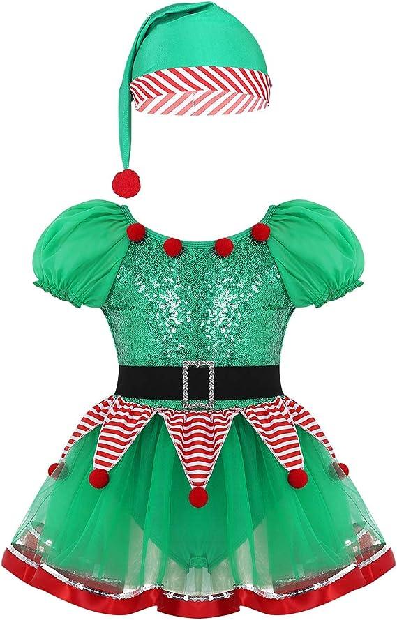 IEFIEL Disfraz de Elfo Elfa Niña Tutú Vestido de Duende ...