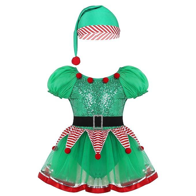 iiniim Disfraz de Elfo Elfa Niña Tutú Vestido de Duende Manga ...