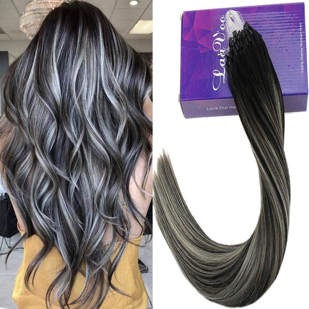 Laavoo Keratin Remy Human Hair Micro Beads Extensions Balayage Ombre Off Black To Grey Silver Ring