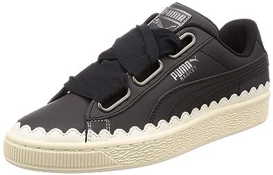Détails sur Puma Basket Heart Scallop WN'S Baskets Noir Blanc