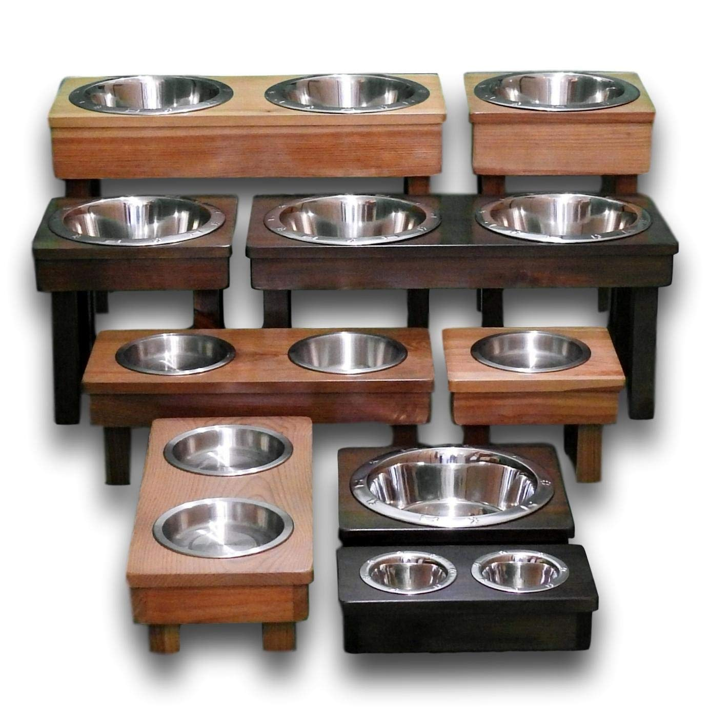 B071CKSCXR Raised Dog Bowls - Single & Double dish, Solid Wood, Dog Bowl Stands, Elevated Bowls - JUMBO, Large, Medium, Small, Toy & Teacup Sizes, Eco-Friendly, Non-Toxic- Handcrafted USA made 71WTvCHeOhL._SL1383_