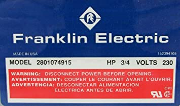 Control Box,3//4HP,230V,1Phase FRANKLIN ELECTRIC 2801074915