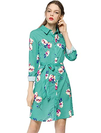 6aff4a3563d Allegra K Women s Lapel Button Down Belted Above Knee Vintage Polka Dots  Floral Shirt Dress XS