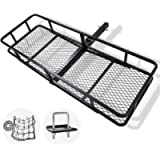 FieryRed Folding Cargo Carrier Luggage Basket - 500 lbs. Capacity Basket Trailer Hitch Cargo Carrier with Cargo Carrier…