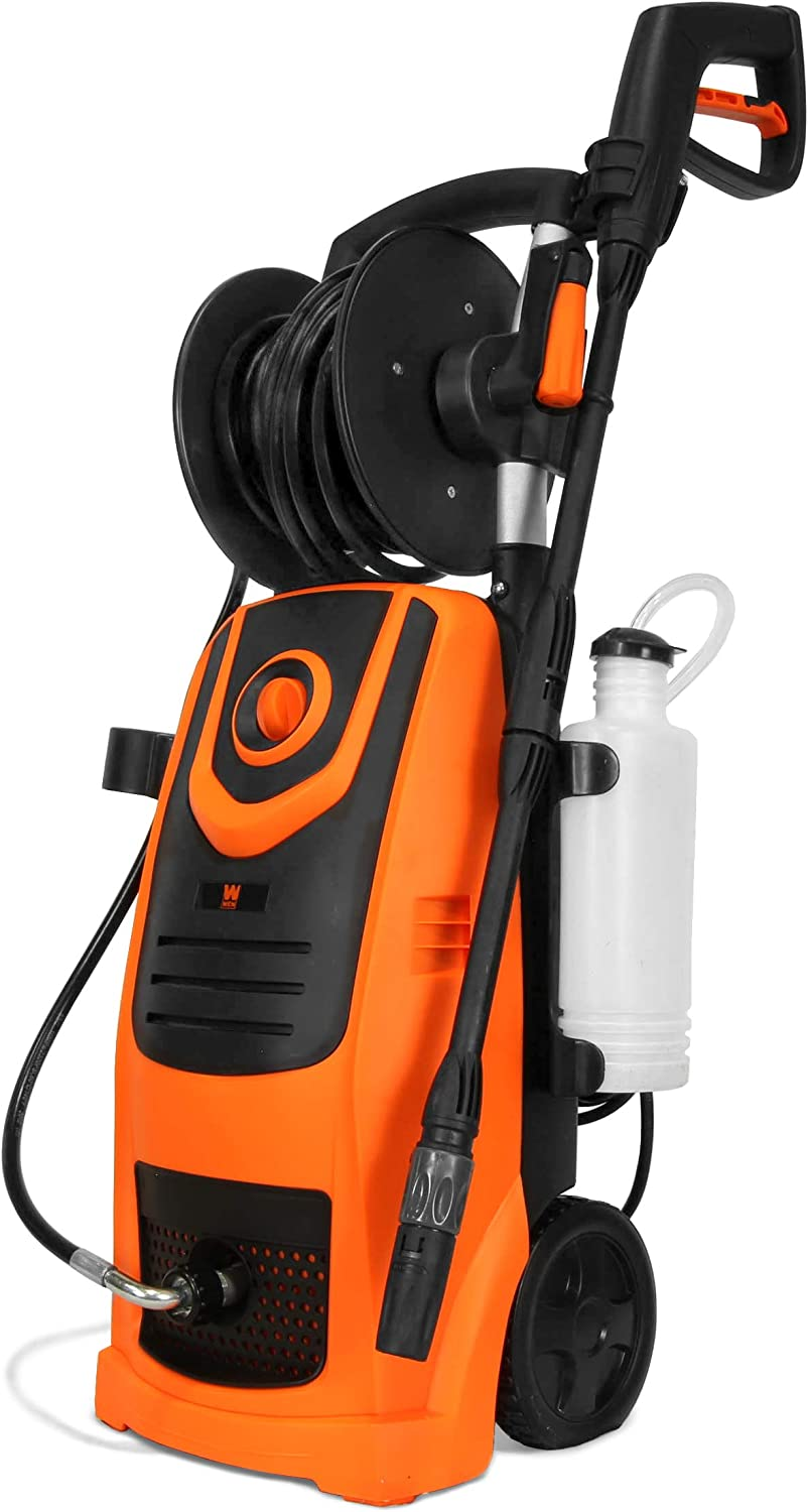WEN PW22 2100 PSI 1.3 GPM 13.5-Amp Electric Pressure Washer with Variable Flow Power and Hose Reel,Black