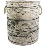 Mziart Unique Tree Stump Large Laundry Basket Bag with Rope Handles, Collapsible Wood Grain Waterproof Laundry Hamper…
