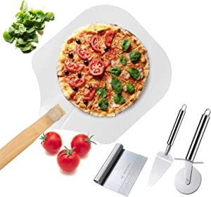 Premium Pie Pizza Peel Aluminum Metal Pizza Paddle 12 x 14 with Foldable Wooden Handle and Pizza Cutter Wheel Pizza Server Set,Easy Storage Pizza Spatula for Baking and Slicing Homemade Pizza Bread