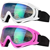Elimoons Ski Goggles, Pack of 2, Snowboard Goggles for Kids, Boys & Girls, Youth, Men & Women, Helmet Compatible with UV…