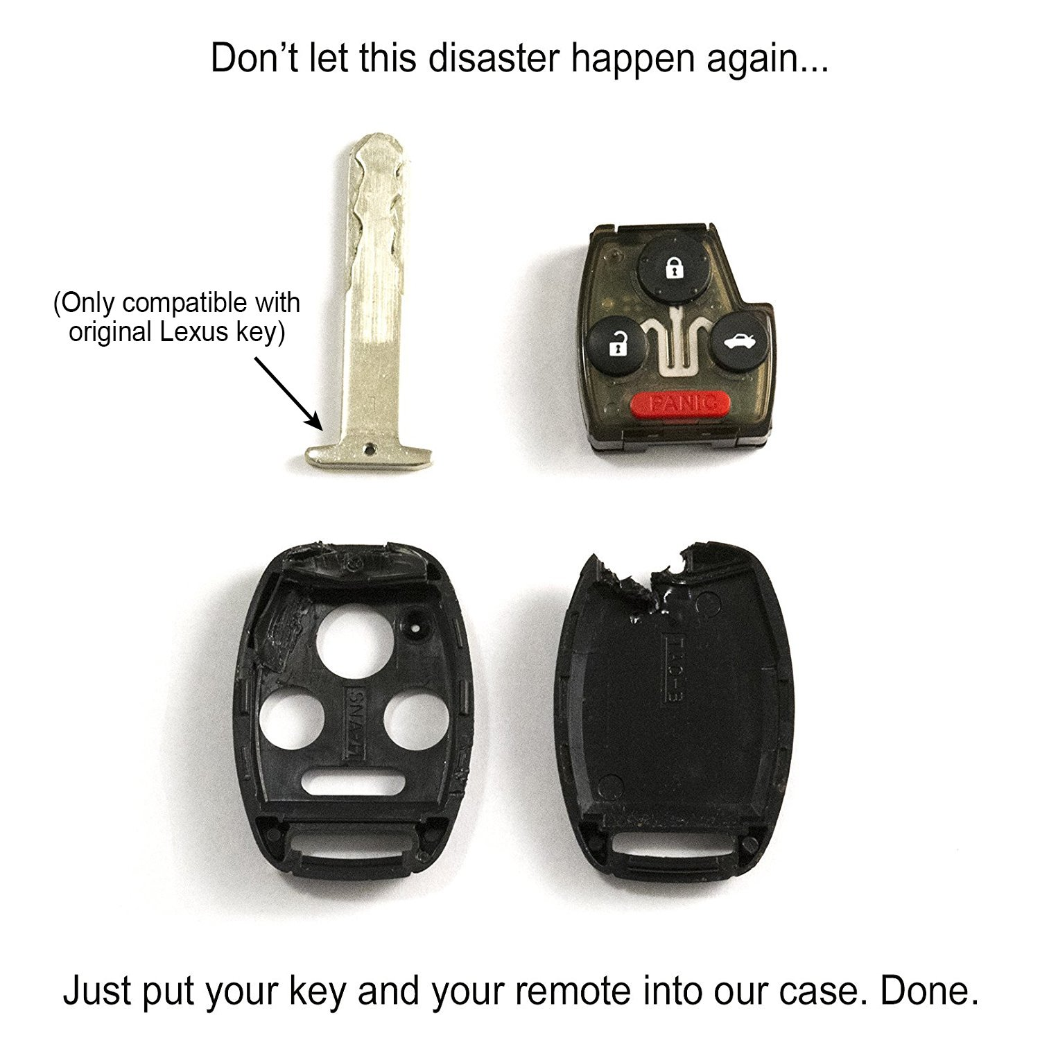 STAUBER Best Honda Key Shell Replacement for Civic 3 Button, Black and Crosstour // NO LOCKSMITH REQUIRED Odyssey Save money using your old key and chip!