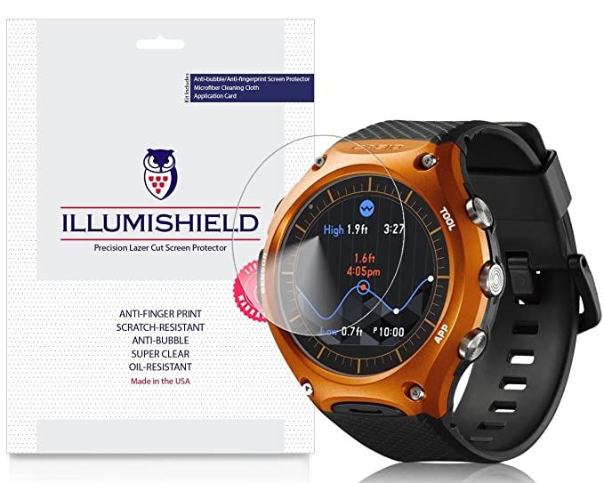 iLLumiShield Screen Protector Compatible with Casio Smart Outdoor Watch (WSD-F10)(3-Pack) Clear HD Shield Anti-Bubble and Anti-Fingerprint PET Film