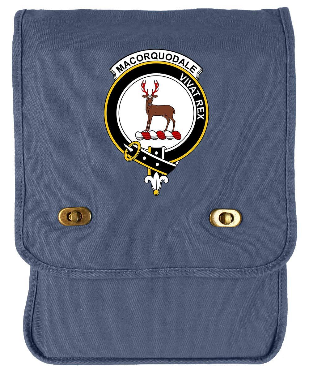 Tenacitee Scottish Clan Crest Badge MacCorquodale Flamingo Raw Edge Canvas Messenger Bag