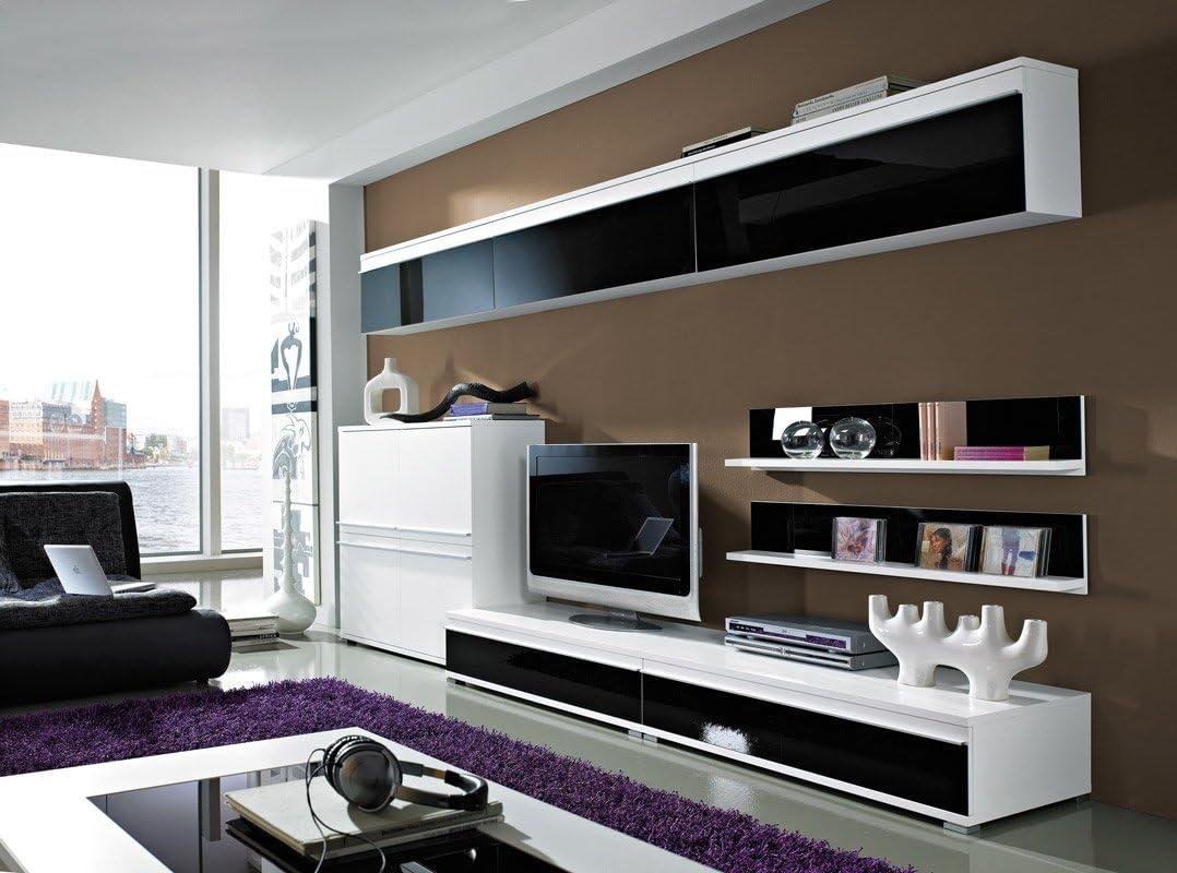Wohnzimmermöbel Wohnwand Schrankwand weiß/schwarz Pico: Amazon.de