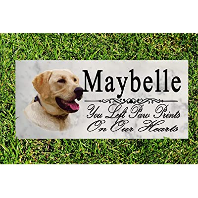 Broad Bay Yellow Labrador Dog Memorial Stone Personalized Yellow Lab Sign Garden Marker Outdoor Grave Headstone Plaque: Kitchen & Dining