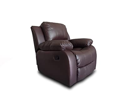 Nice Bonded Leather Overstuffed Recliner Chair Colors Brown, Black (Brown)