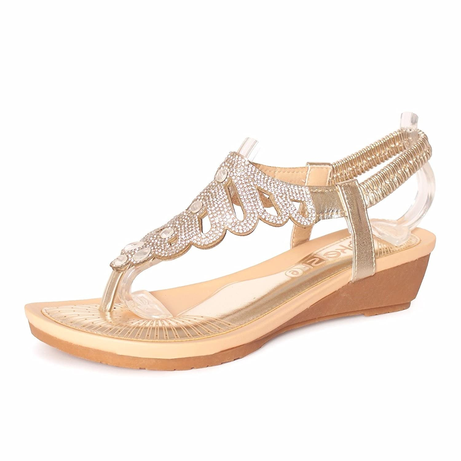 ffb52a2dd88b New Womens Black White Gold Ladies Summer Girls Sandals Ladies Flat  Diamante Wedge Shoes Size Sling Back 3 4 5 6 7 8  Amazon.co.uk  Shoes   Bags