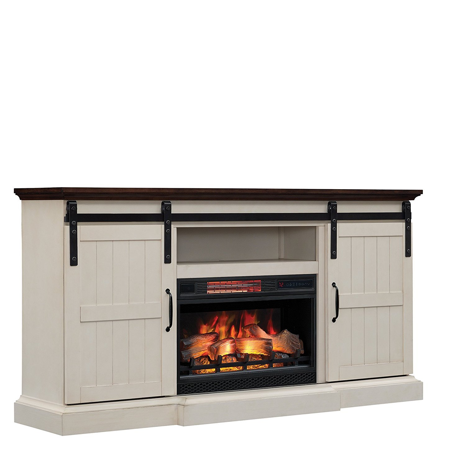Sensational Hogan Electric Fireplace Tv Stand With Logset Weathered White Interior Design Ideas Gentotthenellocom