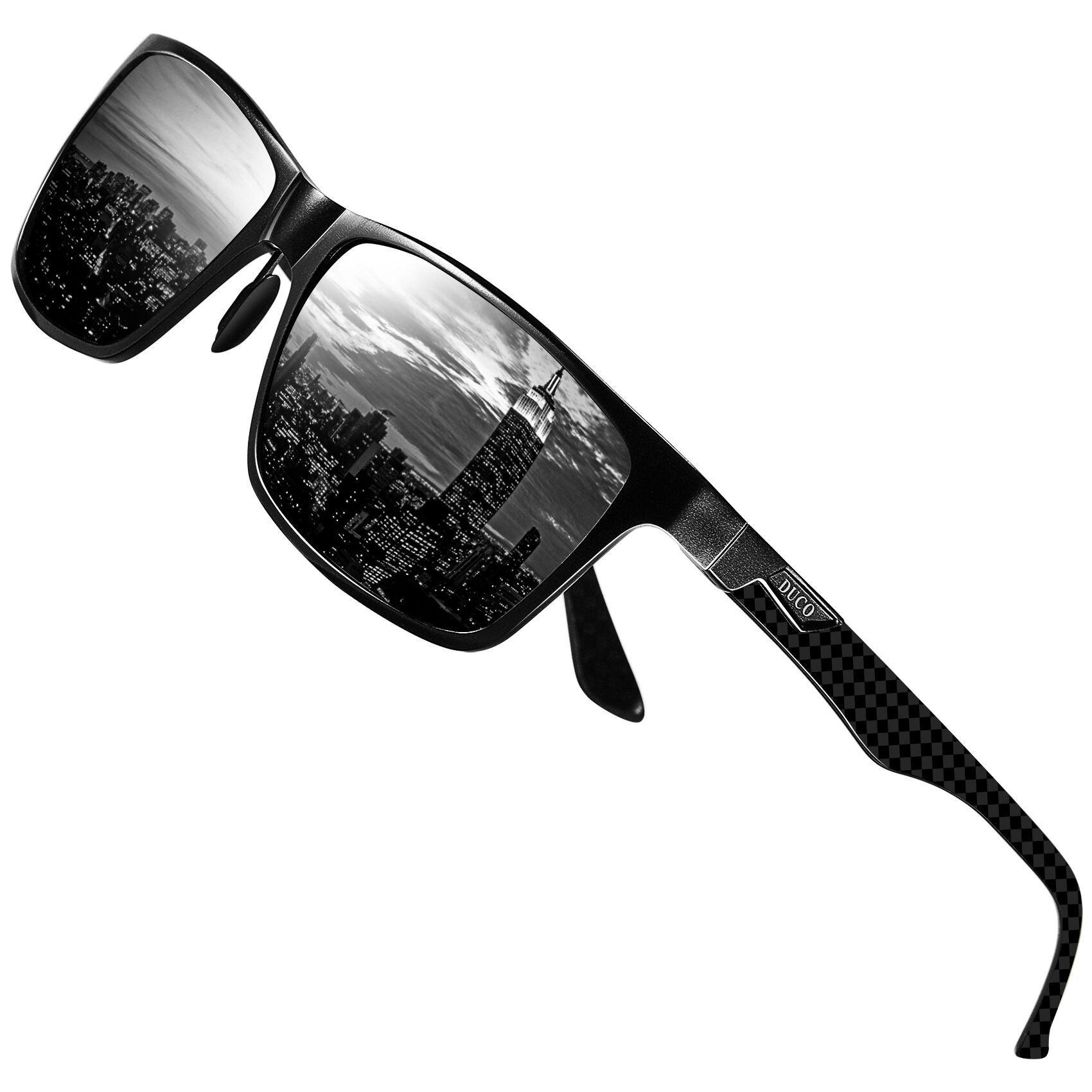 DUCO Mens Classic Rectangular Polarized Metal Frame Sunglasses with Carbon Fiber Temples 8206 (Black Frame Grey Lens)