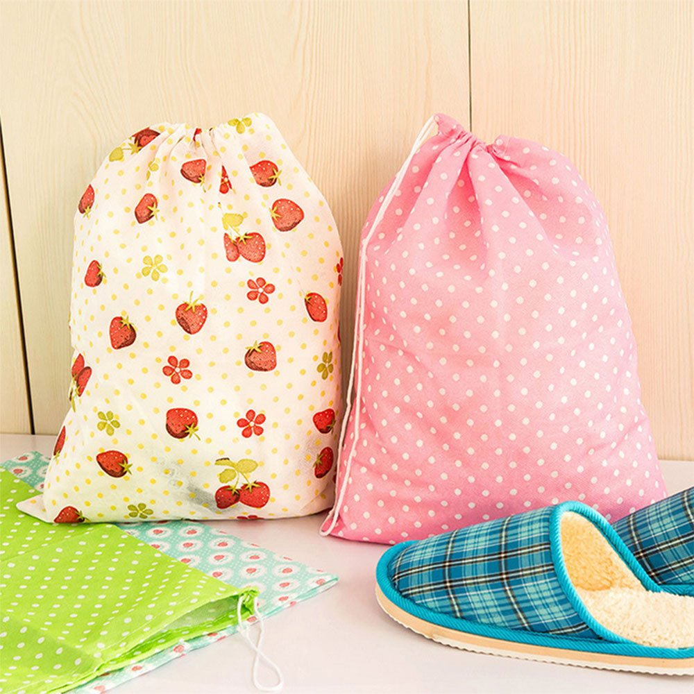 Shoes Clothes Organizer Dustproof Bags Portable Travel Random Color Daycount Pack of 5 Storage Bags with String