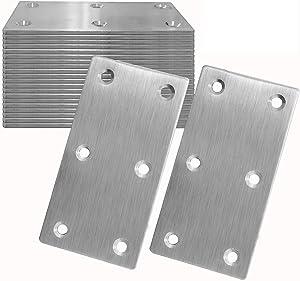 20Pcs Stainless Steel Flat Bracket Mending Plate, 4