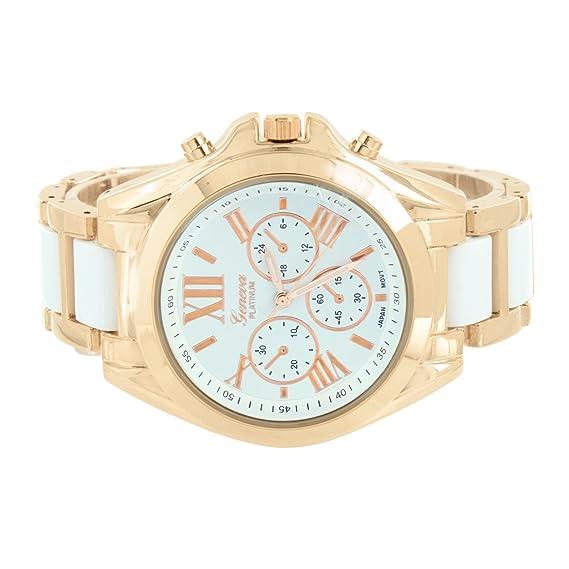 Tono de oro rosa reloj para mujer Geneva Platinum números romanos hora azul esfera analógica