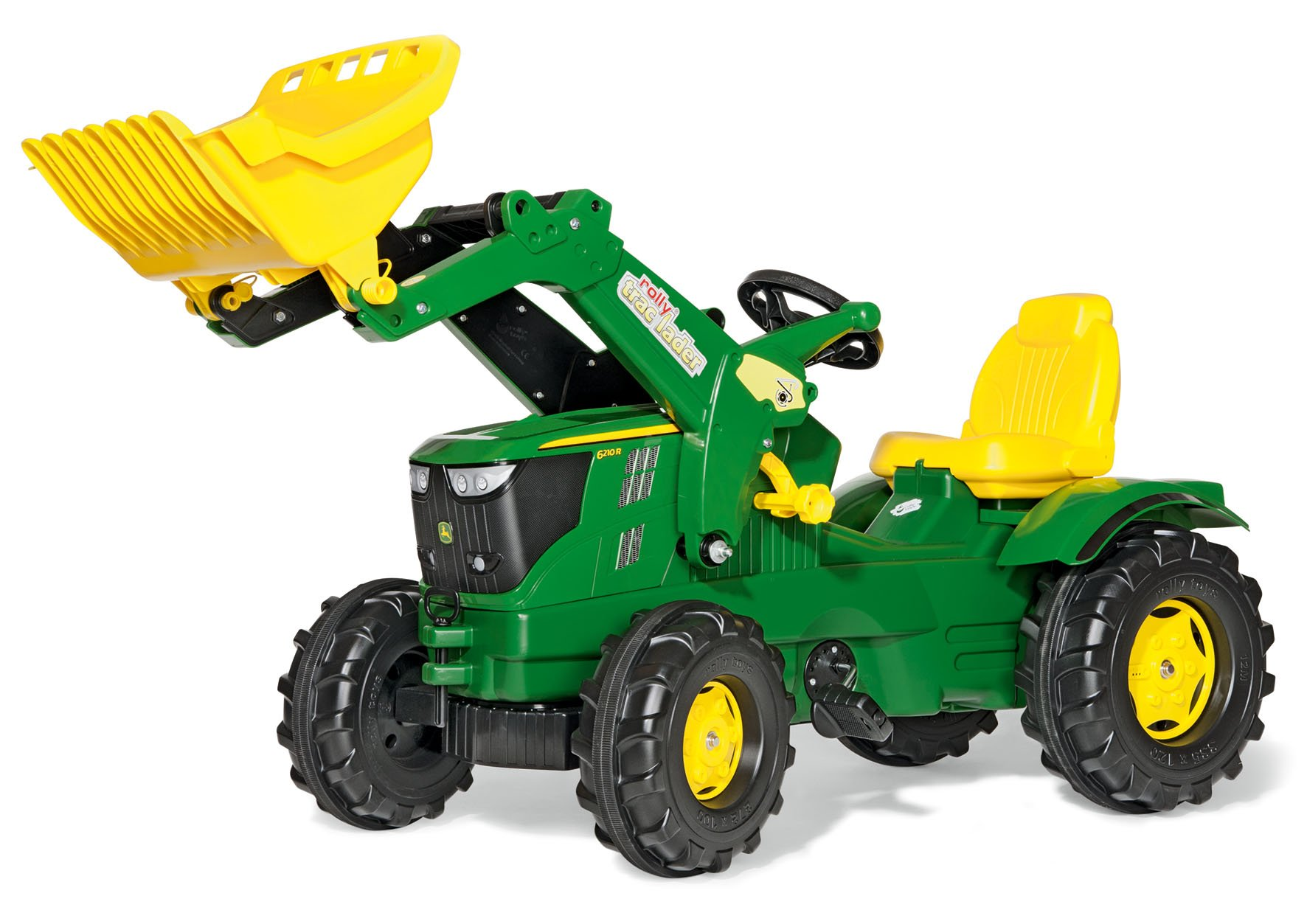 rolly toys John Deere Farmtrac Pedal Tractor with Working Front Loader and Additional Hitches, Youth Ages 3+