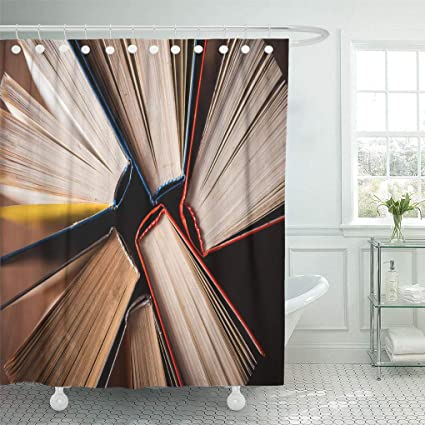 Emvency Waterproof Fabric Shower Curtain Hooks Literary Old Books On Wooden Table Top View World Day