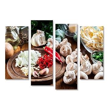 islandburner Cuadro Ingredientes listos para Preparar Pasta de tallarines con champiñón en Salsa de champiñones Impresión sobre Lienzo - Formato Grande ...
