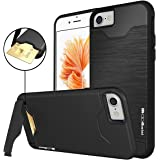 iPhone 7 Case, Moonmini Shockproof Slim Fit Dual Layer Protection Card Slot Holder Hybrid Cover with Kickstand for iPhone 7 (2016) - Black