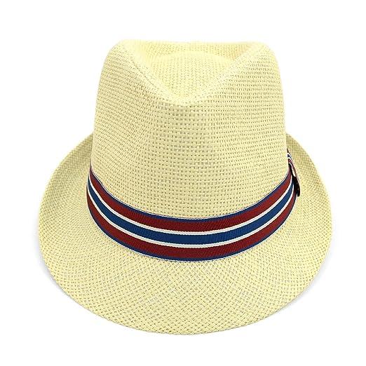cc509cc1792 Unisex Fashion Fedora Hat with Blue   Red Band at Amazon Men s ...