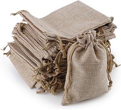 Ahua - 50 bolsas de algodón pequeñas con cordón doble para joyas ...