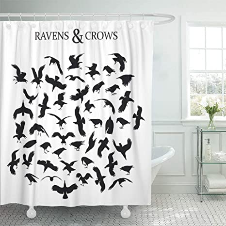Amazon Com Emvency Shower Curtain Silhouette Of 49 Black Crows And Ravens In Different Shower Curtains Sets With Hooks 72 X 78 Inches Waterproof Polyester Fabric Home Kitchen