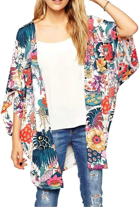Zexxxy Womens Floral Beach Cover Ups Chiffon Summer Kimono Cardigans 3//4 Sleeve Tops