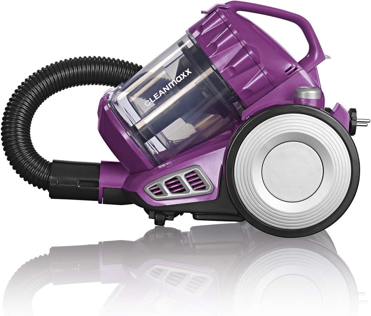 CLEANmaxx - Aspiradora multiciclónica con accesorios, alfombras, productos de limpieza y tapicería, filtro HEPA contra polvo fino, 800 W [negro/baya]: Amazon.es: Hogar