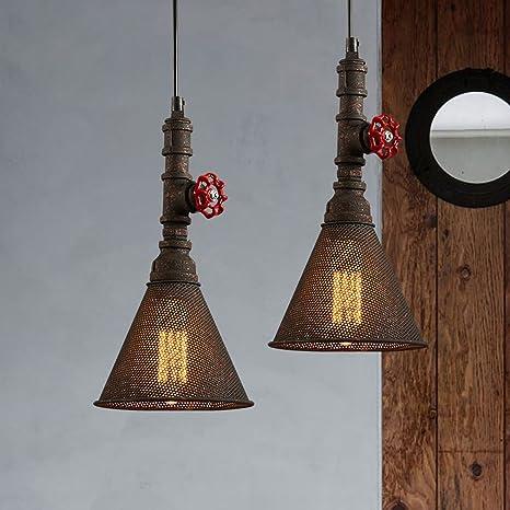 Retro redondo lámpara colgante Hierro techo lámpara jaula ...