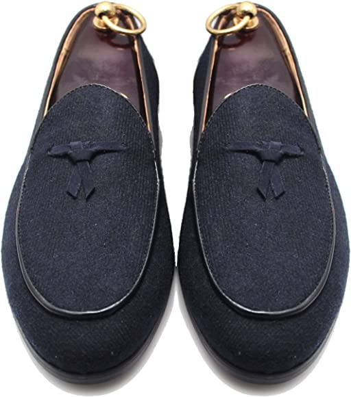 4ae5c419fe3d7 SMYTHE & DIGBY Men's Navy Blue Flannel Albert Slippers Leather Velvet  Loafers ...