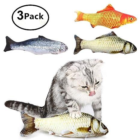 Catnip Cat Toys, Ulable Cat Fish interactivo juguete de peluche para masticar para gatos pequeños