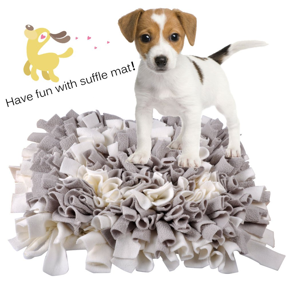 MyfatBOSS Snuffle Mat, Feeding Mat for Dogs, Encourages Natural Foraging Skills Interactive Dog Toys, Fun to Use Design, Perfect for Any Breed (17.7''X17.7'')(Grey-White)
