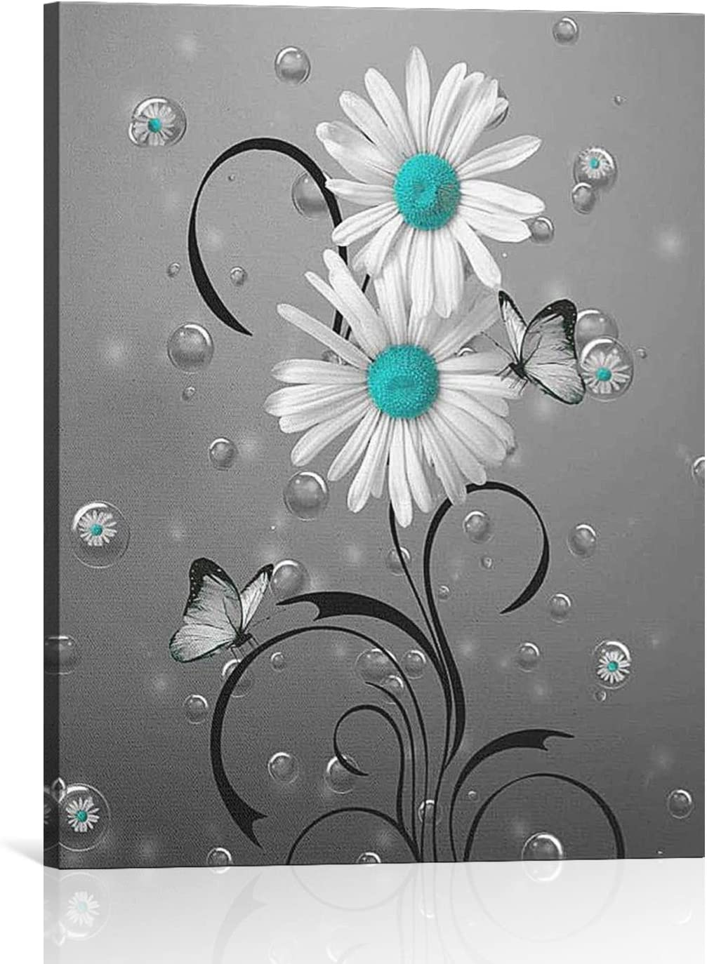 BLOOM SOMEWHERE Rustic Wrapped Wall Art Daisy Flower Blue and White Vintage Canvas Painting Abstract Artwork Decor For Home Ready to Hang 16X20 inches