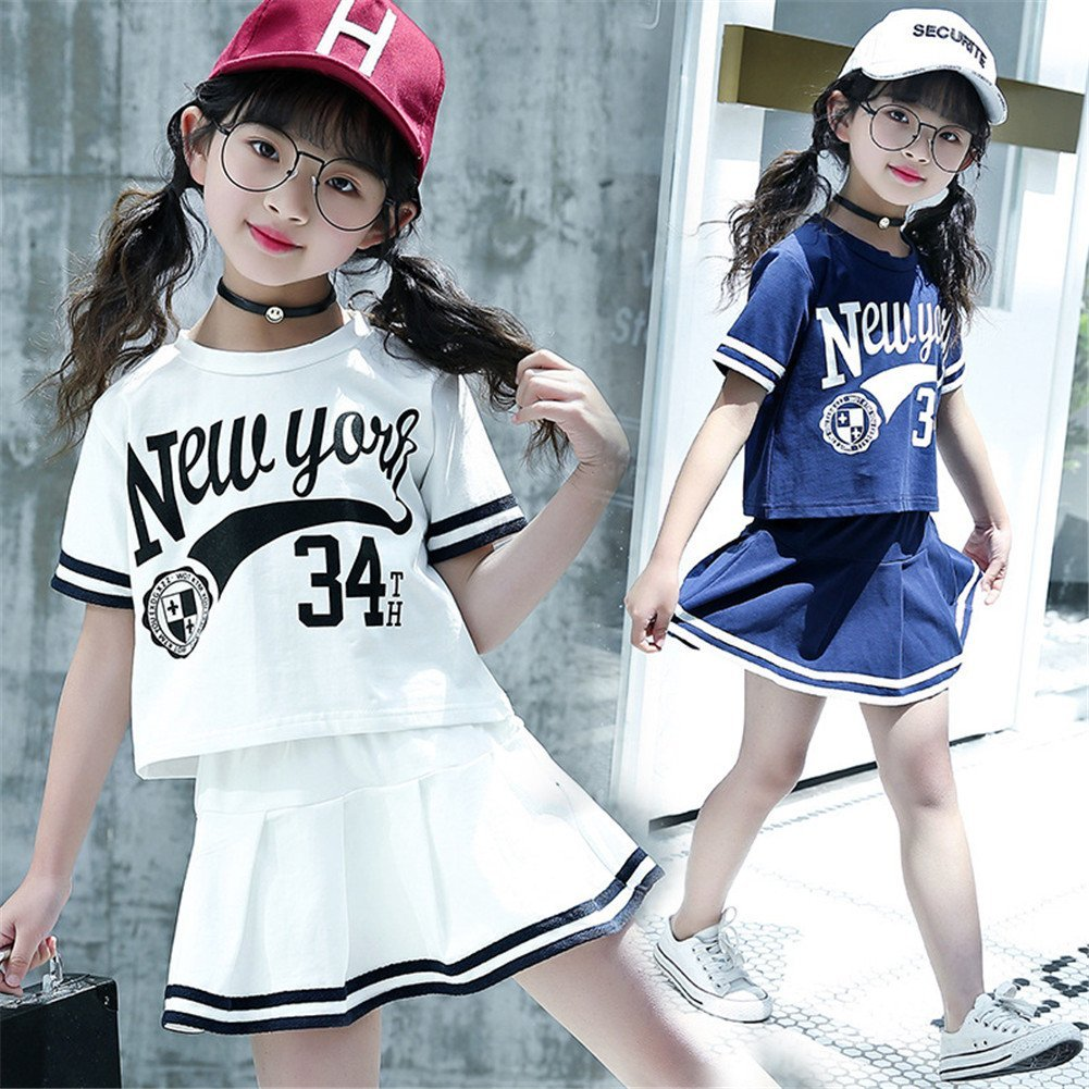 FTSUCQ Girls Breathable Dancing Sports Shirt Top Tennis Skirt with Undershorts