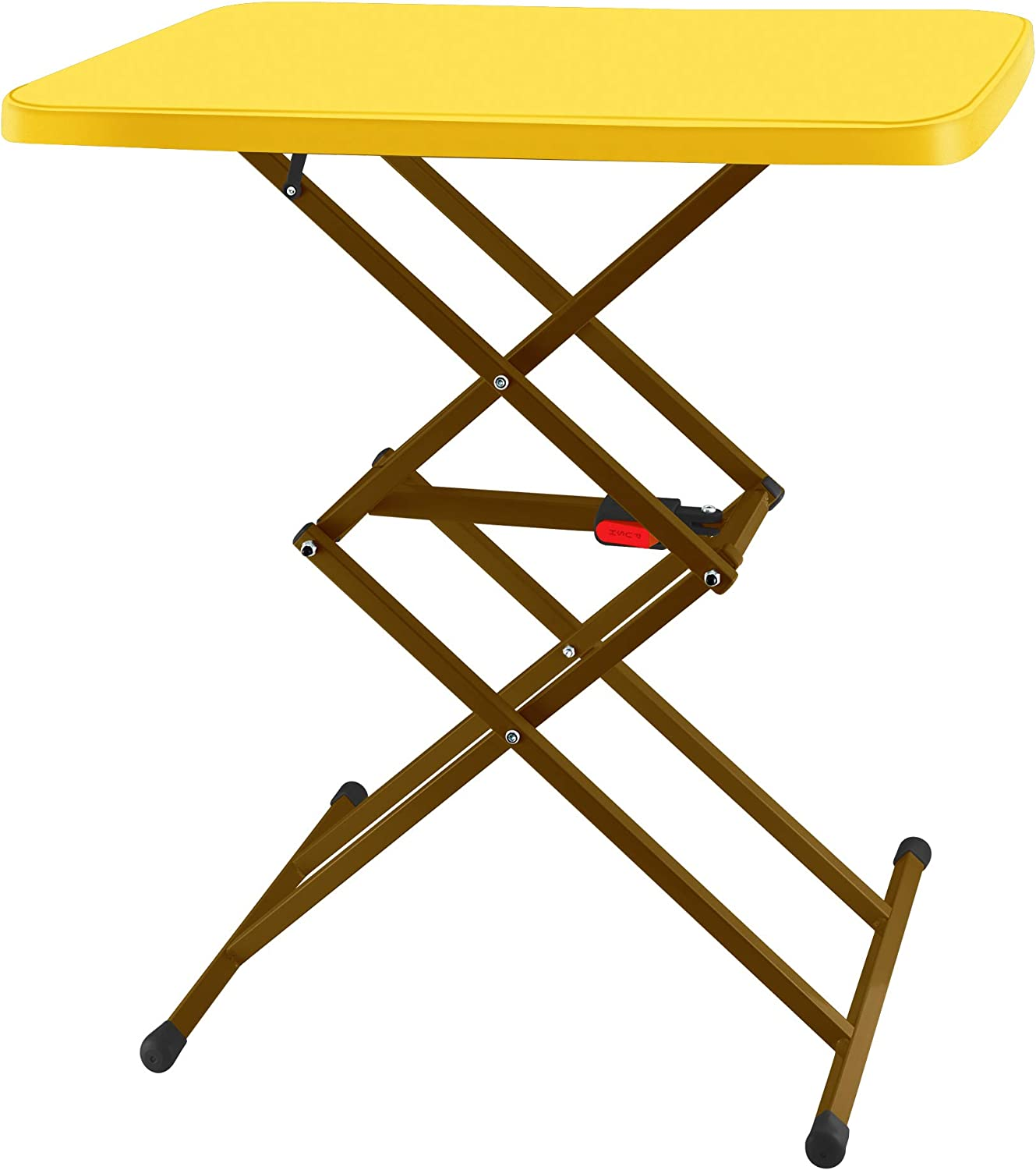 SOUNDANCE Adjustable Folding Table, Lightweight and Portable TV Tray, Sturdy Dinner Tables for Eating, Easy to Fold and Put Away, Zero Assembly Required Desk for Indoor and Outdoor Use, Yellow
